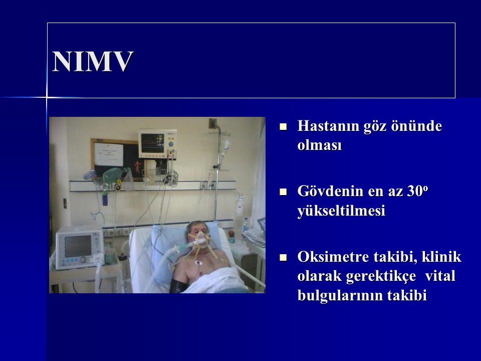 NIMV Hastanın göz önünde olması Gövdenin en az 30o yükseltilmesi
