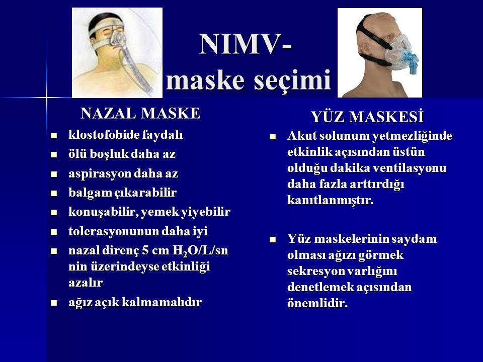 NIMV- maske seçimi NAZAL MASKE YÜZ MASKESİ klostofobide faydalı