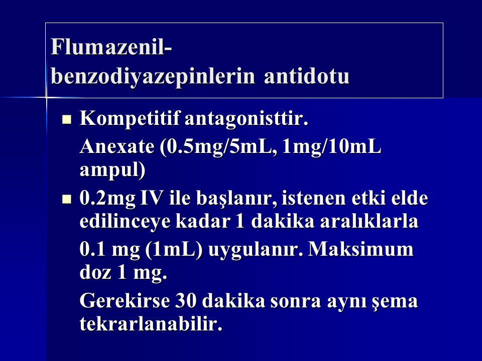 Flumazenil- benzodiyazepinlerin antidotu