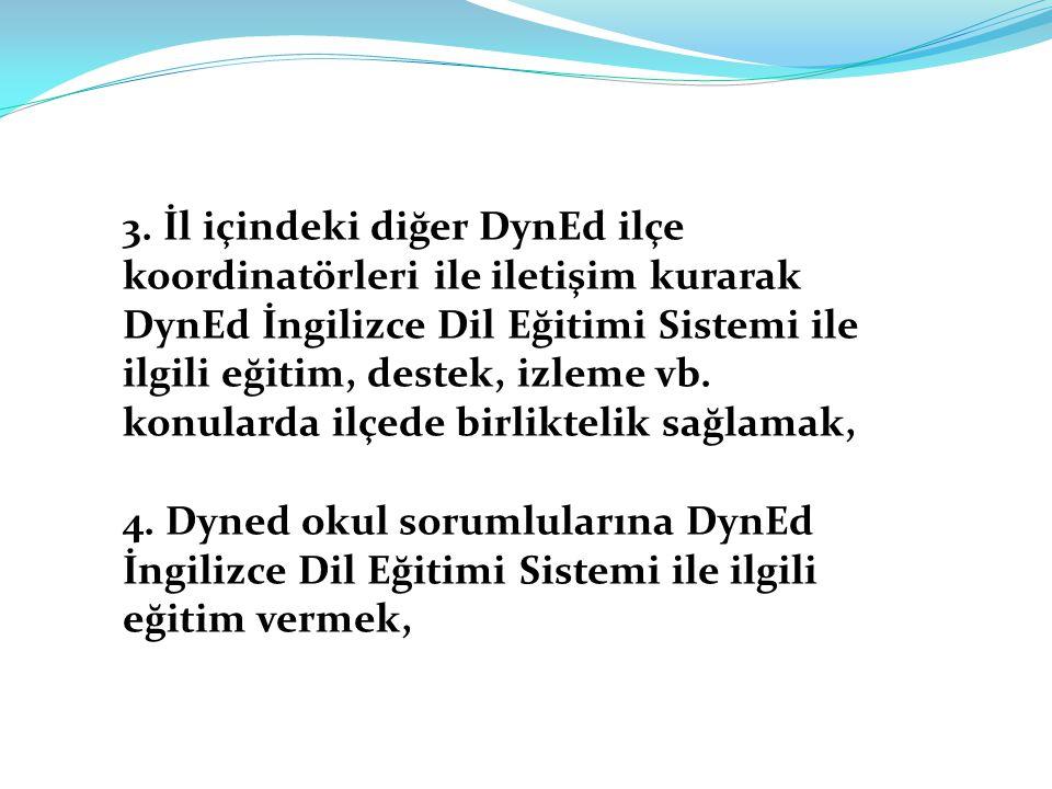 3. İl içindeki diğer DynEd ilçe koordinatörleri ile iletişim kurarak DynEd İngilizce Dil Eğitimi Sistemi ile ilgili eğitim, destek, izleme vb. konularda ilçede birliktelik sağlamak,