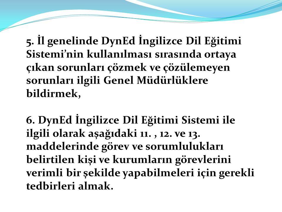 5. İl genelinde DynEd İngilizce Dil Eğitimi Sistemi'nin kullanılması sırasında ortaya çıkan sorunları çözmek ve çözülemeyen sorunları ilgili Genel Müdürlüklere bildirmek,