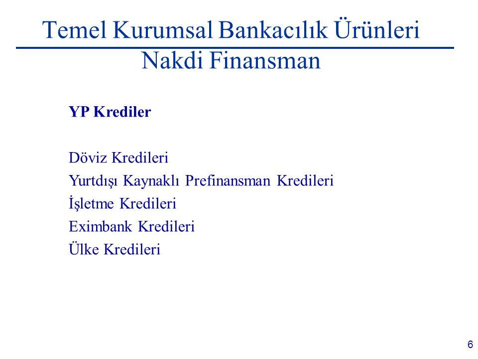 Temel Kurumsal Bankacılık Ürünleri Nakdi Finansman