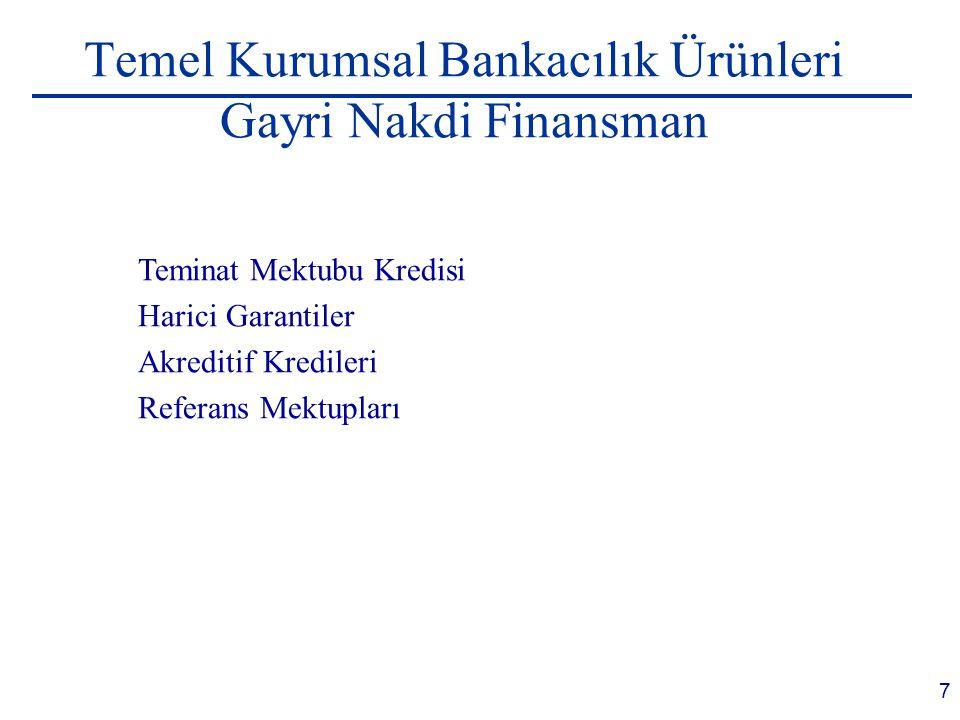Temel Kurumsal Bankacılık Ürünleri Gayri Nakdi Finansman