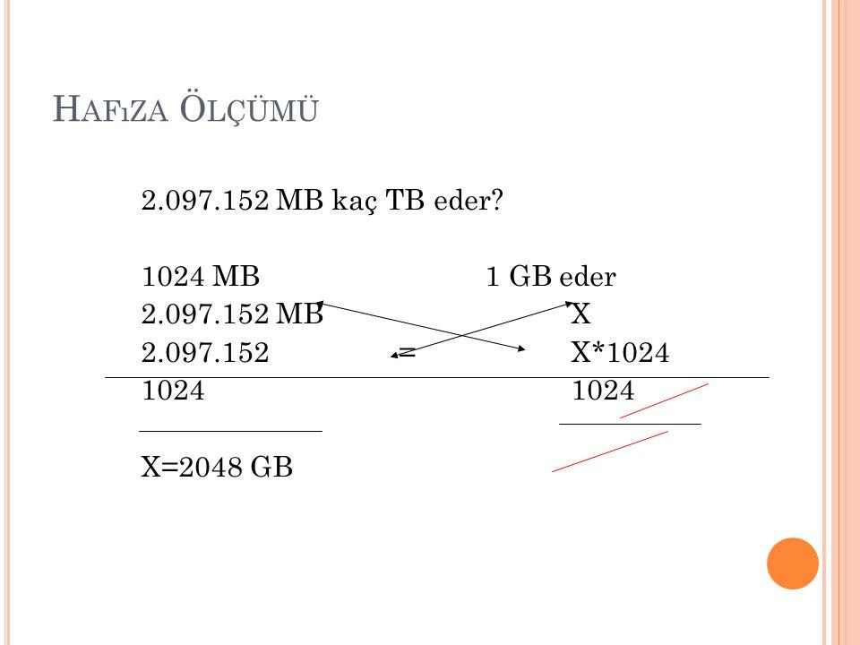 Hafıza Ölçümü 2.097.152 MB kaç TB eder 1024 MB 1 GB eder