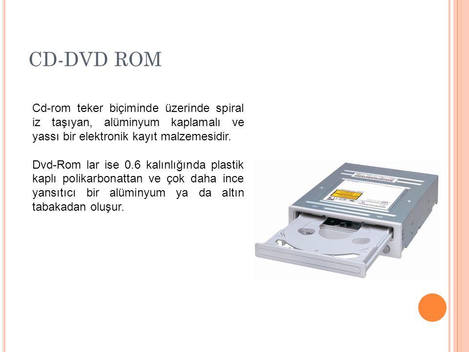 CD-DVD ROM Cd-rom teker biçiminde üzerinde spiral iz taşıyan, alüminyum kaplamalı ve yassı bir elektronik kayıt malzemesidir.