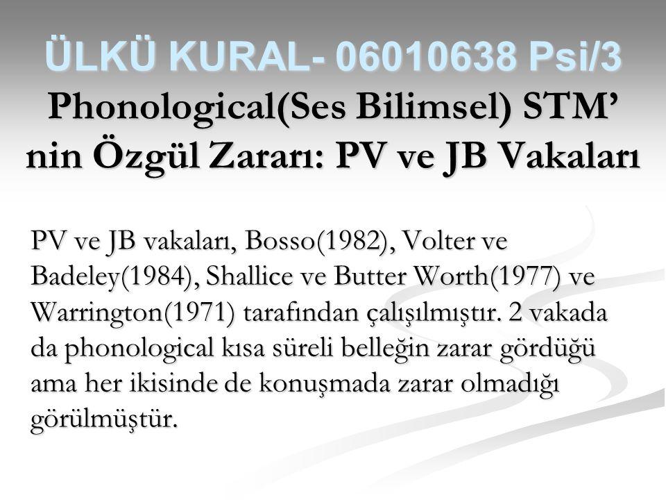 ÜLKÜ KURAL- 06010638 Psi/3 Phonological(Ses Bilimsel) STM' nin Özgül Zararı: PV ve JB Vakaları