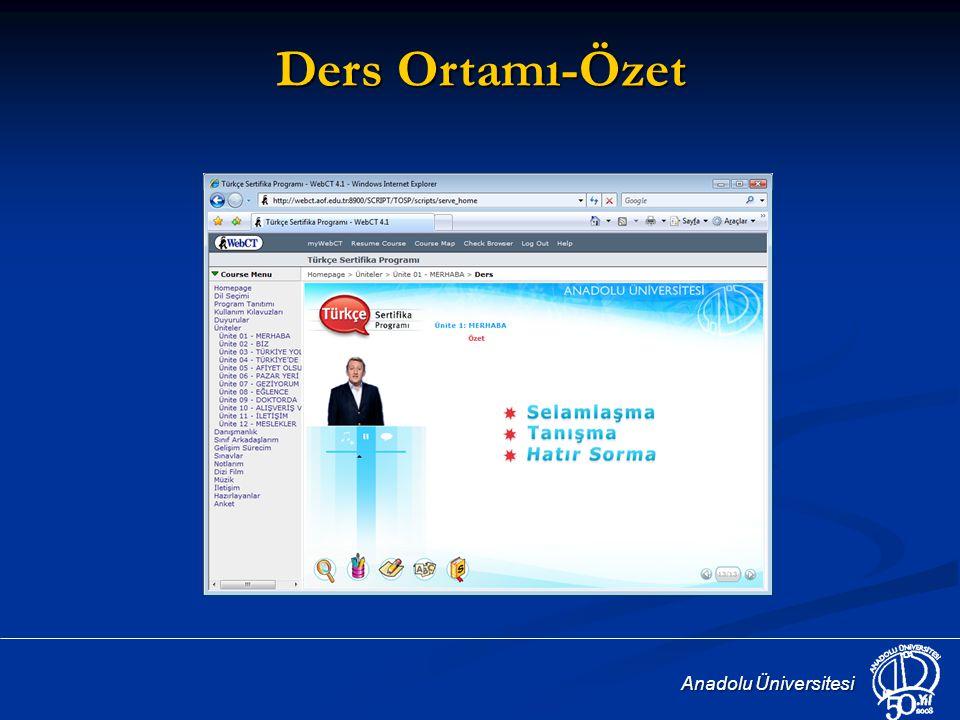 Ders Ortamı-Özet Anadolu Üniversitesi