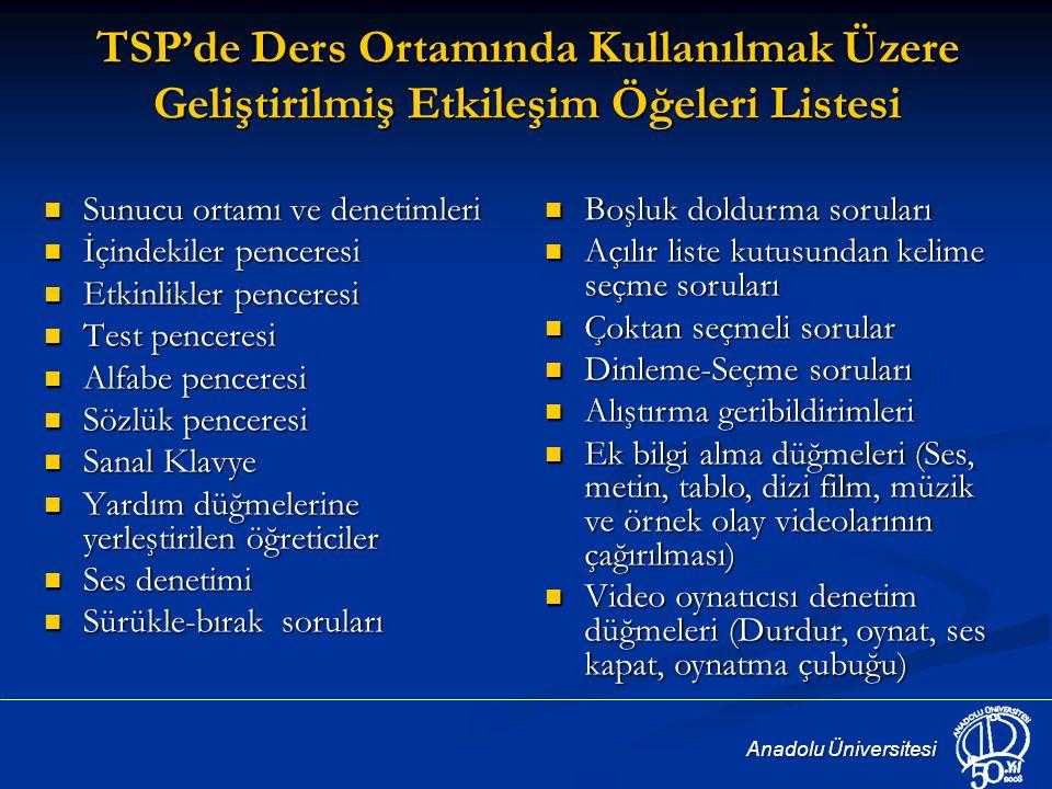 TSP'de Ders Ortamında Kullanılmak Üzere Geliştirilmiş Etkileşim Öğeleri Listesi