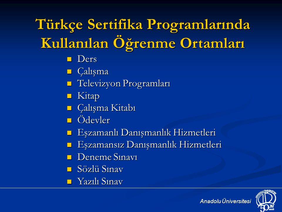 Türkçe Sertifika Programlarında Kullanılan Öğrenme Ortamları
