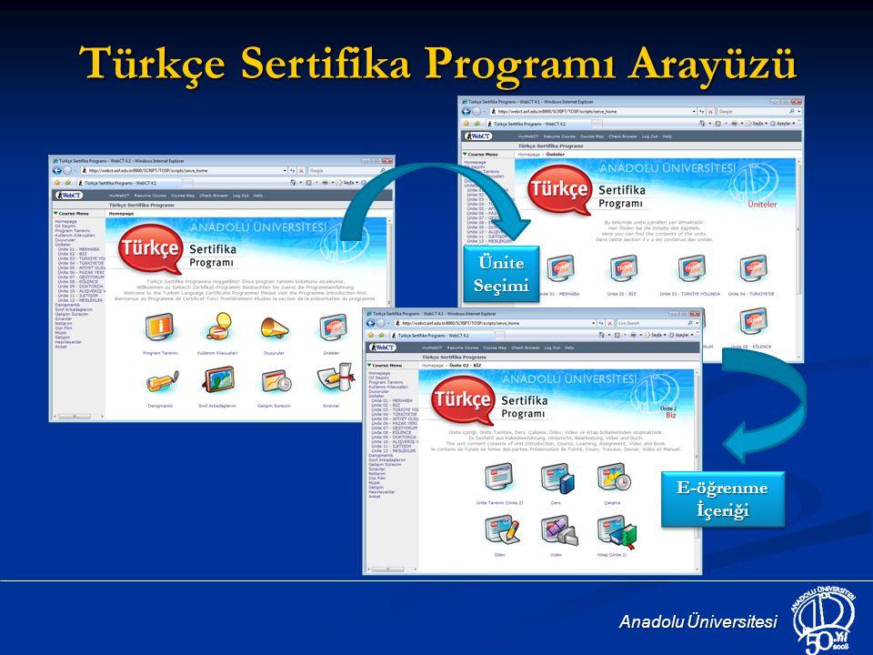 Türkçe Sertifika Programı Arayüzü