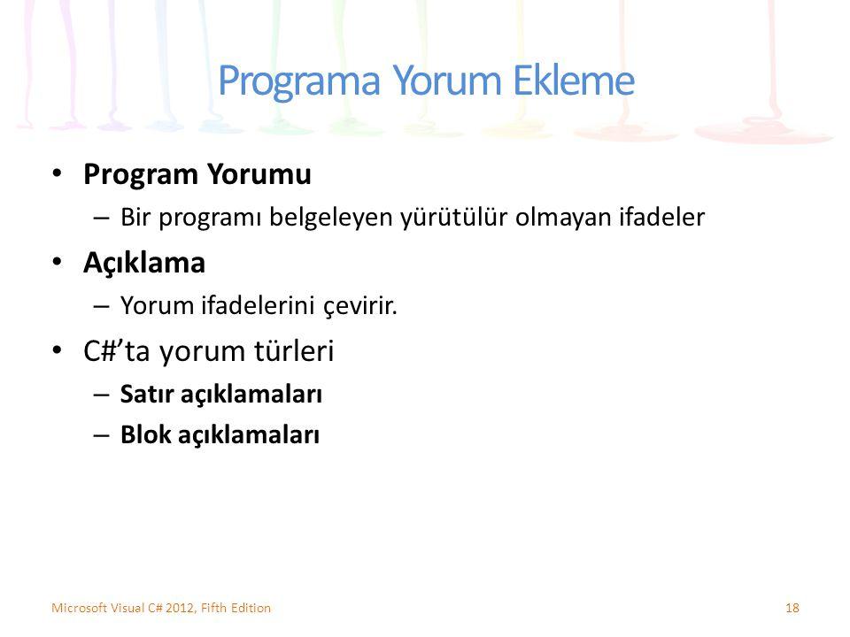 Programa Yorum Ekleme Program Yorumu Açıklama C#'ta yorum türleri