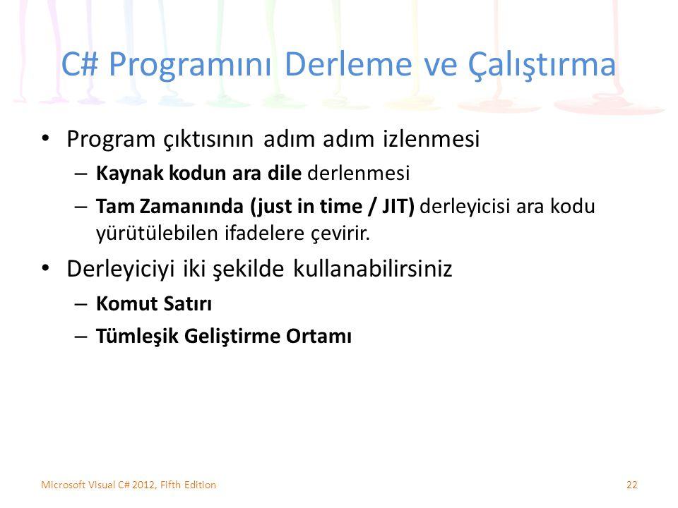 C# Programını Derleme ve Çalıştırma