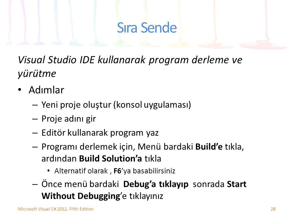 Sıra Sende Visual Studio IDE kullanarak program derleme ve yürütme