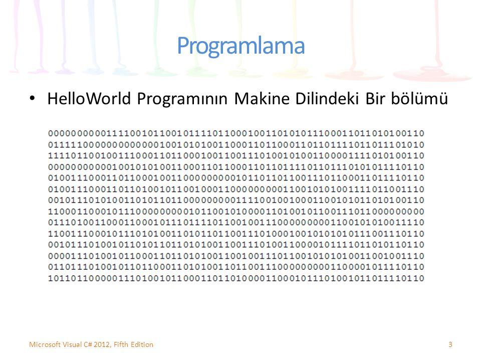 Programlama HelloWorld Programının Makine Dilindeki Bir bölümü
