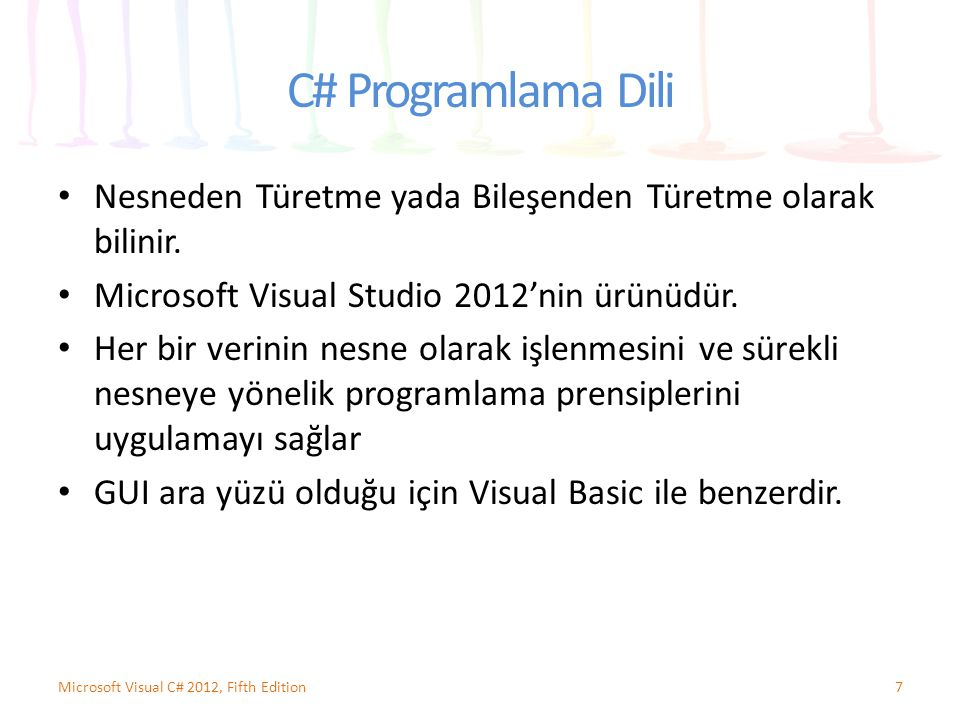C# Programlama Dili Nesneden Türetme yada Bileşenden Türetme olarak bilinir. Microsoft Visual Studio 2012'nin ürünüdür.