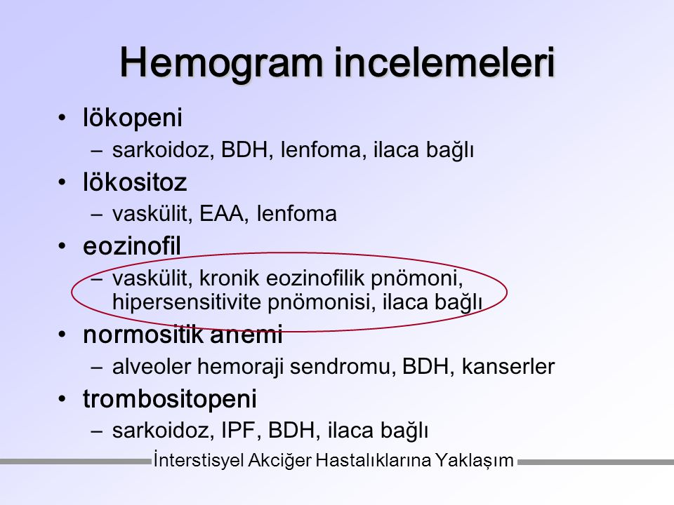 Hemogram incelemeleri