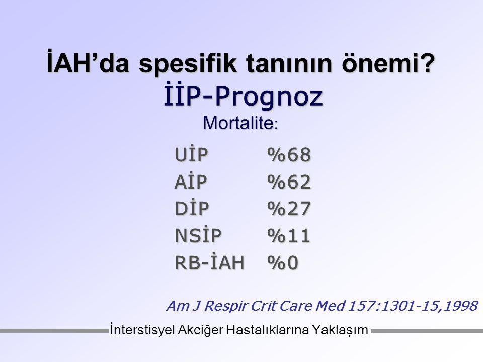 İAH'da spesifik tanının önemi İİP-Prognoz Mortalite: