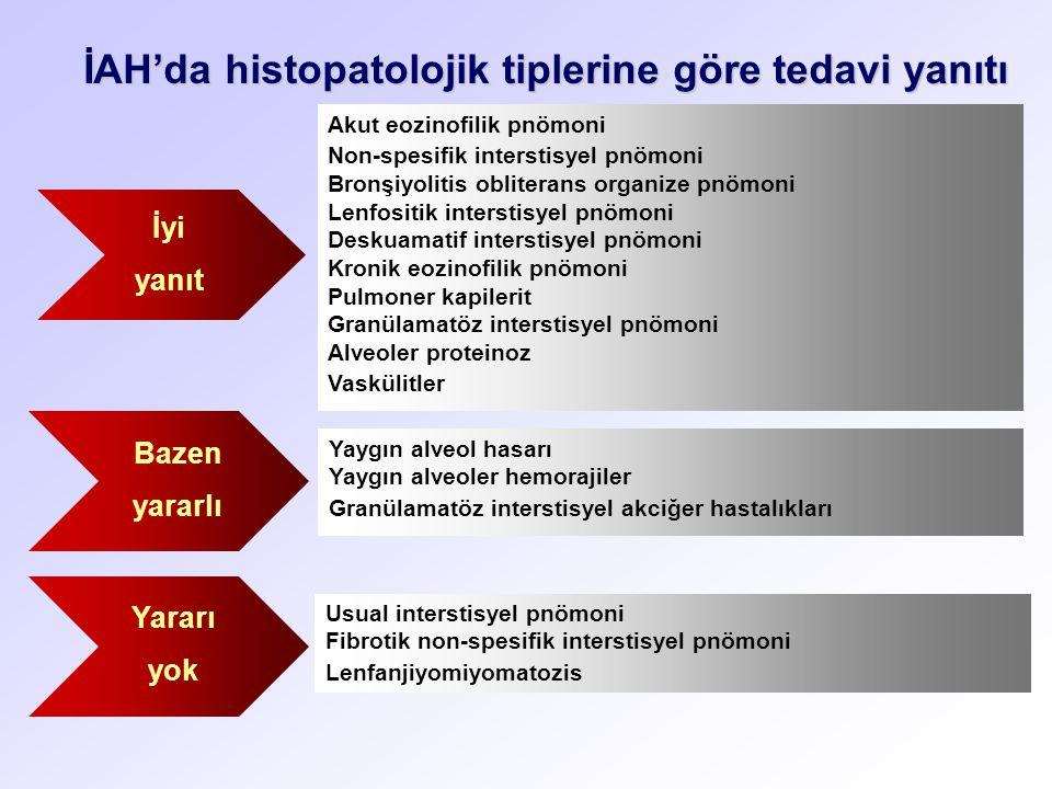 İAH'da histopatolojik tiplerine göre tedavi yanıtı