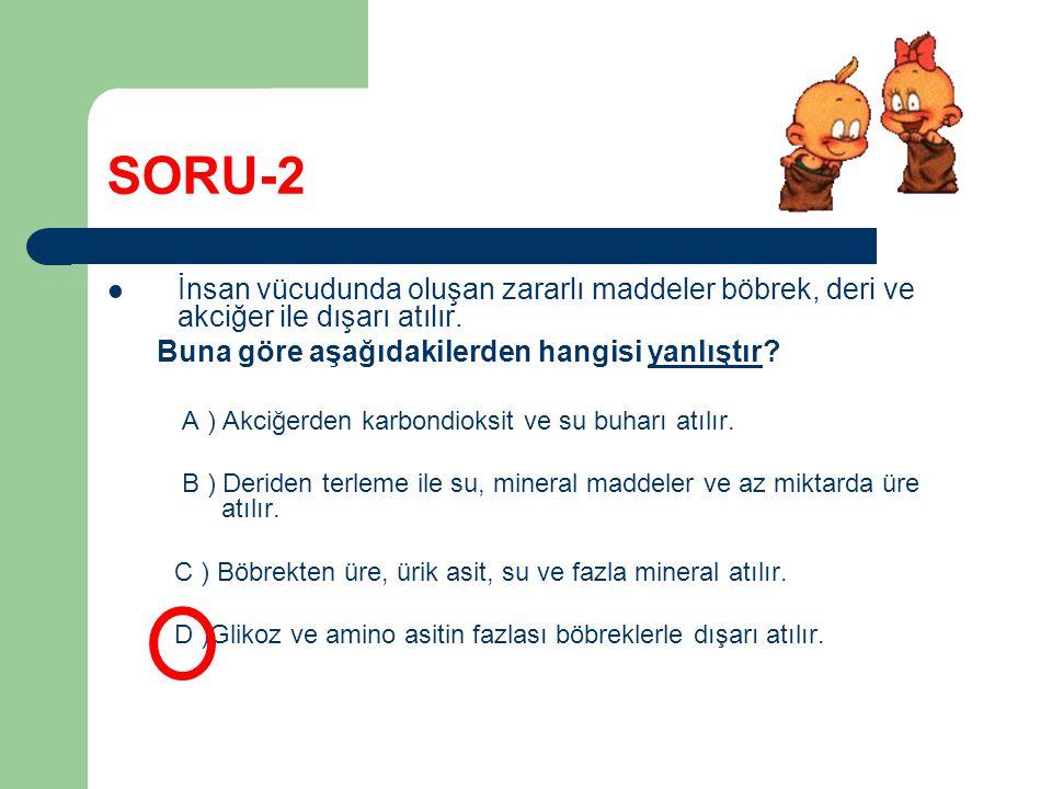 SORU-2 İnsan vücudunda oluşan zararlı maddeler böbrek, deri ve akciğer ile dışarı atılır. Buna göre aşağıdakilerden hangisi yanlıştır