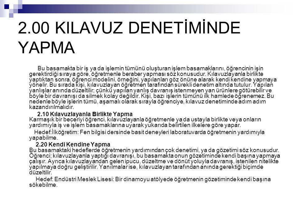 2.00 KILAVUZ DENETİMİNDE YAPMA