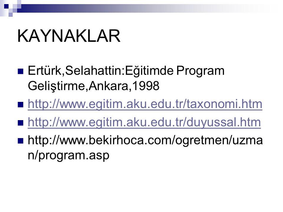KAYNAKLAR Ertürk,Selahattin:Eğitimde Program Geliştirme,Ankara,1998