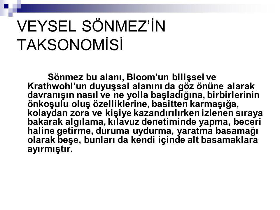 VEYSEL SÖNMEZ'İN TAKSONOMİSİ