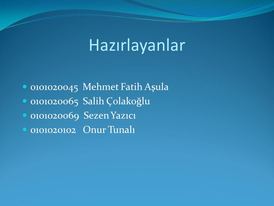 Hazırlayanlar 0101020045 Mehmet Fatih Aşula 0101020065 Salih Çolakoğlu