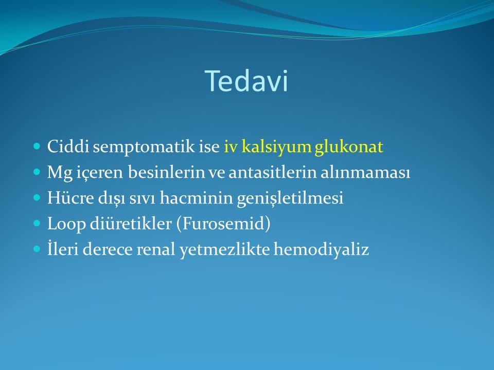 Tedavi Ciddi semptomatik ise iv kalsiyum glukonat