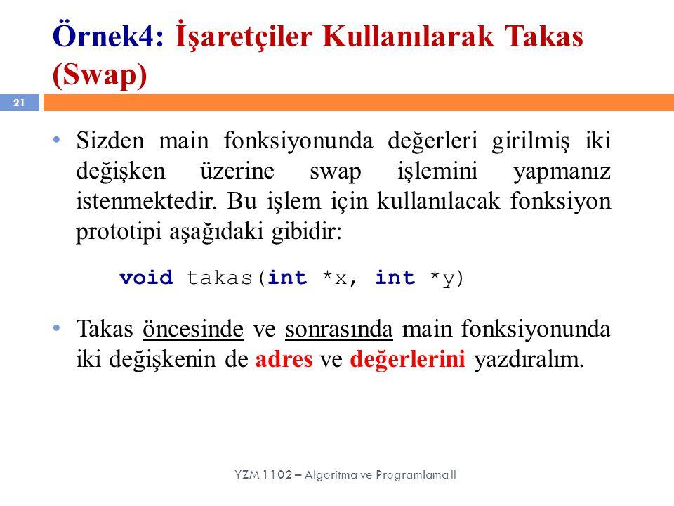 Örnek4: İşaretçiler Kullanılarak Takas (Swap)