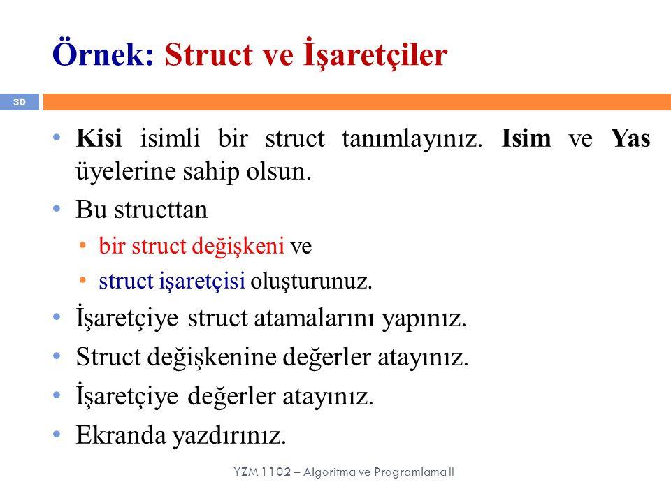 Örnek: Struct ve İşaretçiler
