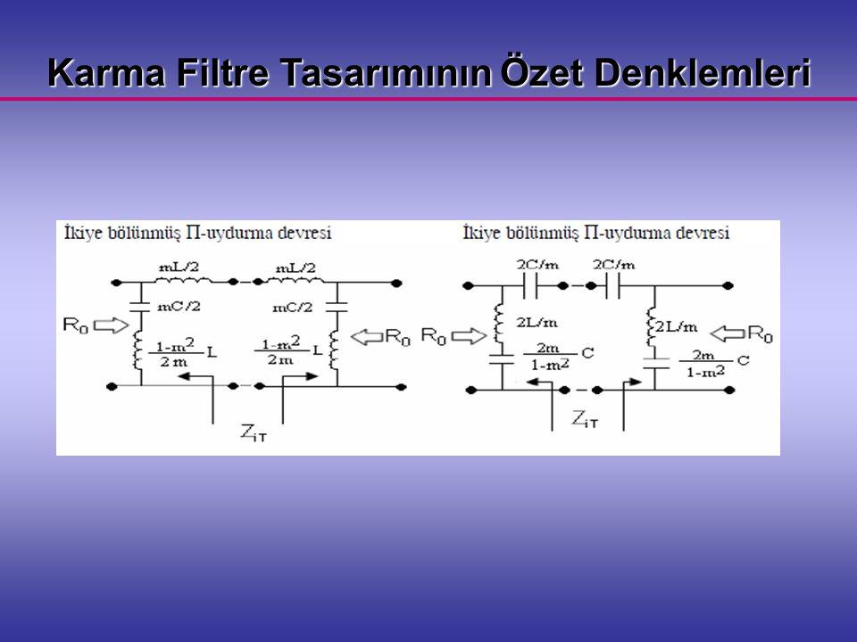 Karma Filtre Tasarımının Özet Denklemleri