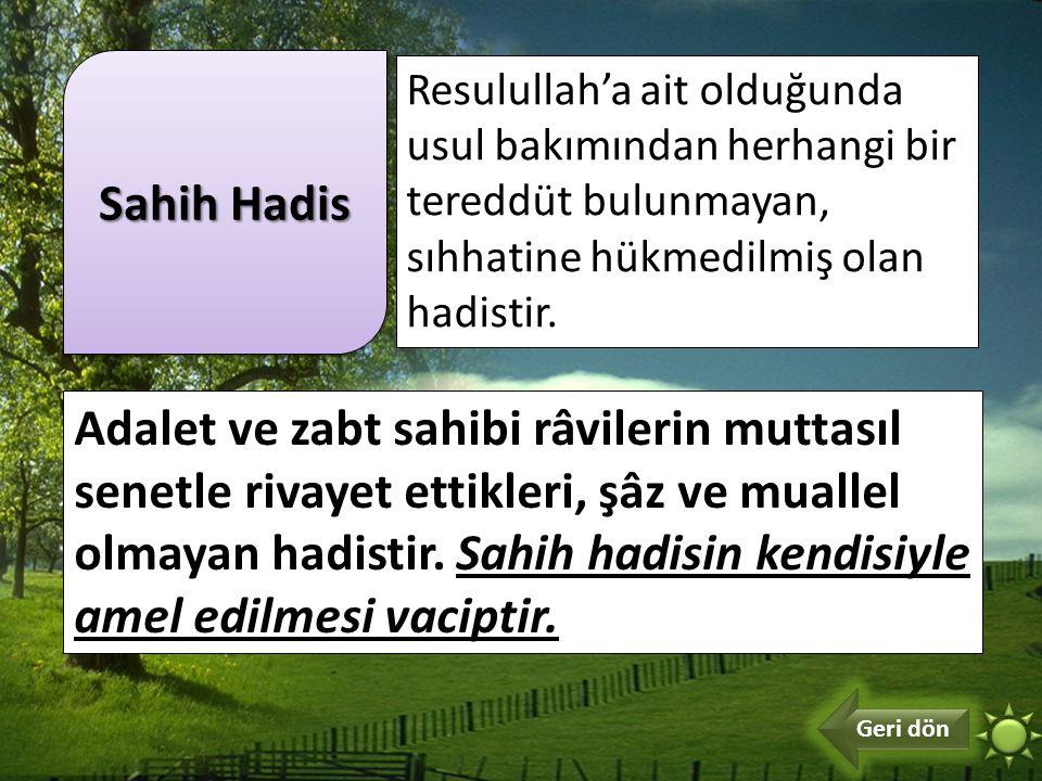 Sahih Hadis Resulullah'a ait olduğunda usul bakımından herhangi bir tereddüt bulunmayan, sıhhatine hükmedilmiş olan hadistir.