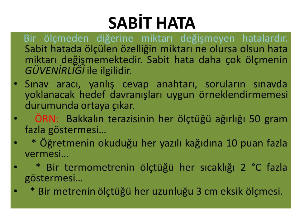SABİT HATA