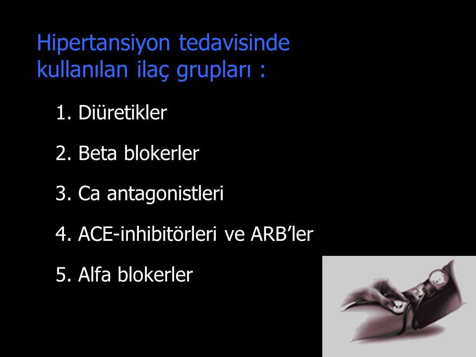 Hipertansiyon tedavisinde kullanılan ilaç grupları :