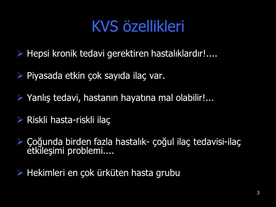 KVS özellikleri Hepsi kronik tedavi gerektiren hastalıklardır!....