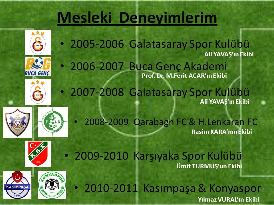 Mesleki Deneyimlerim 2005-2006 Galatasaray Spor Kulübü
