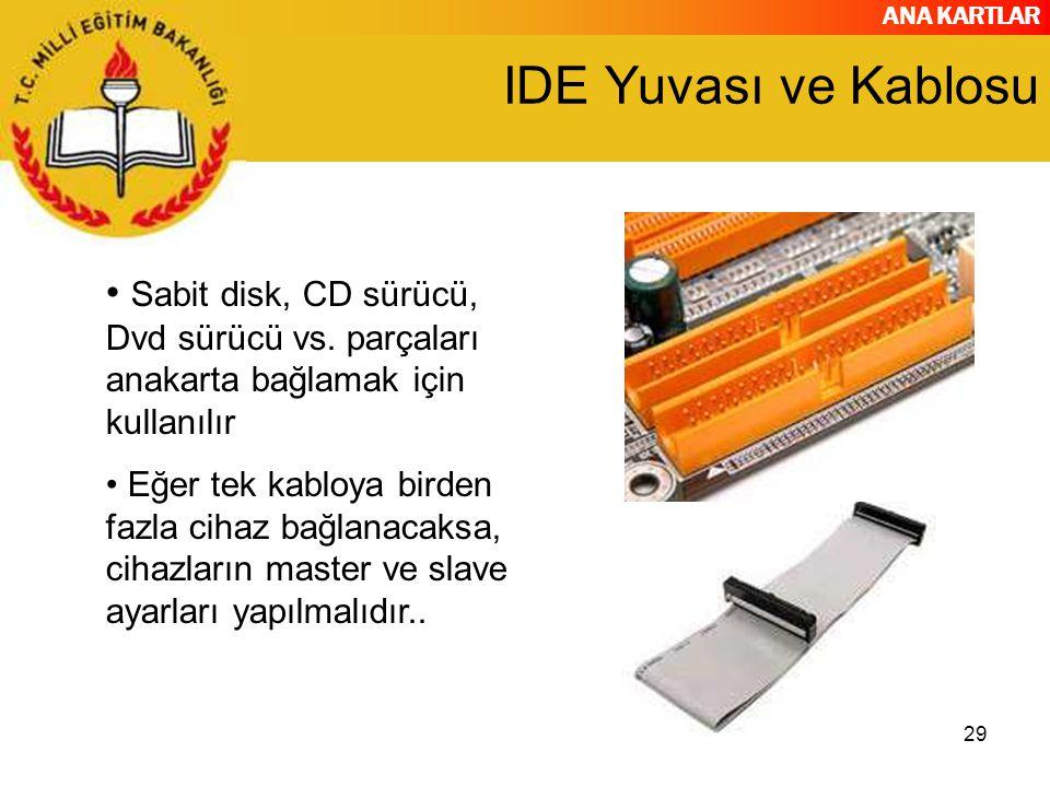 IDE Yuvası ve Kablosu Sabit disk, CD sürücü, Dvd sürücü vs. parçaları anakarta bağlamak için kullanılır.