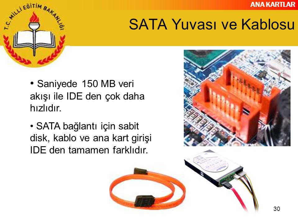 SATA Yuvası ve Kablosu Saniyede 150 MB veri akışı ile IDE den çok daha hızlıdır.