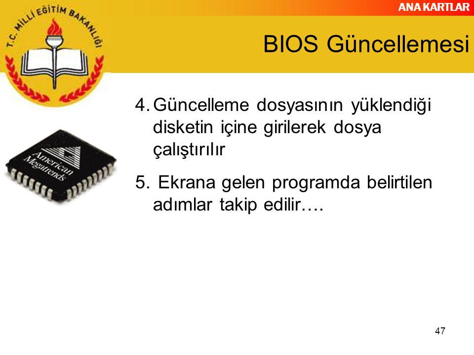 BIOS Güncellemesi Güncelleme dosyasının yüklendiği disketin içine girilerek dosya çalıştırılır.