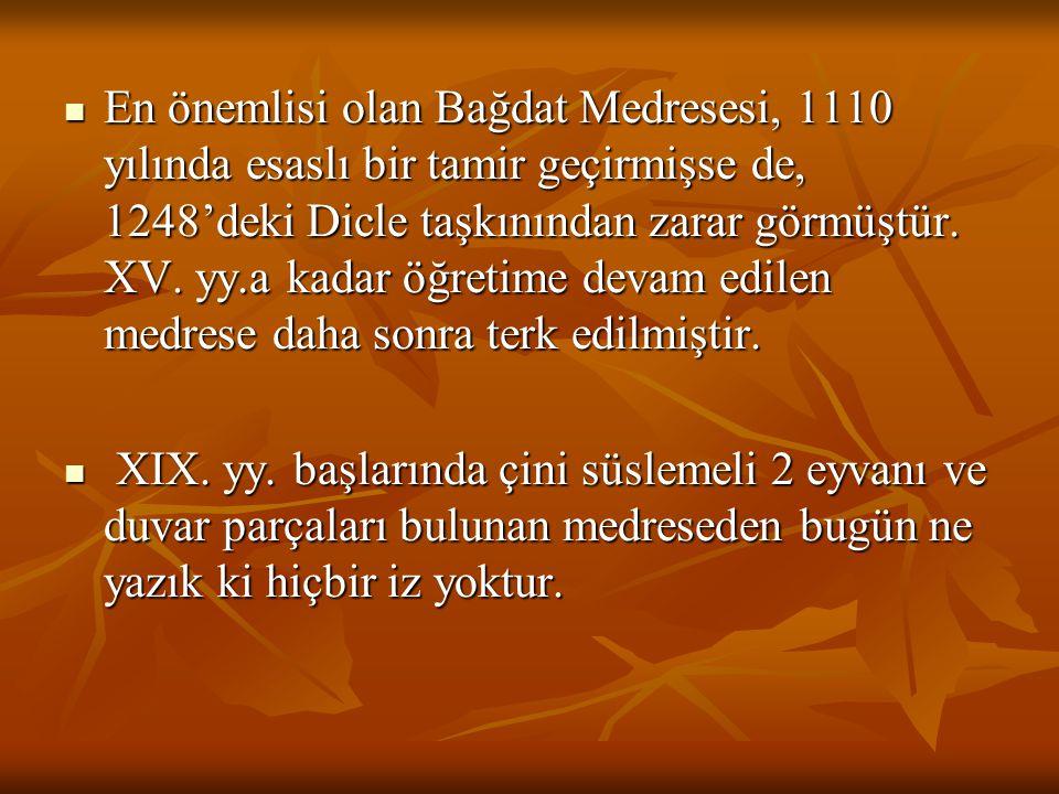 En önemlisi olan Bağdat Medresesi, 1110 yılında esaslı bir tamir geçirmişse de, 1248'deki Dicle taşkınından zarar görmüştür. XV. yy.a kadar öğretime devam edilen medrese daha sonra terk edilmiştir.