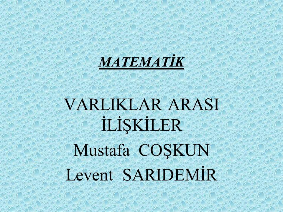 VARLIKLAR ARASI İLİŞKİLER Mustafa COŞKUN Levent SARIDEMİR