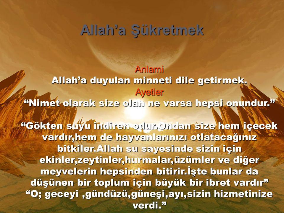 Allah'a Şükretmek Anlami Allah'a duyulan minneti dile getirmek.