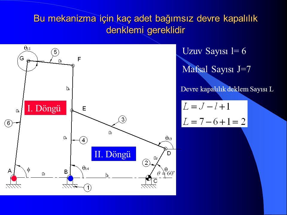 Bu mekanizma için kaç adet bağımsız devre kapalılık denklemi gereklidir