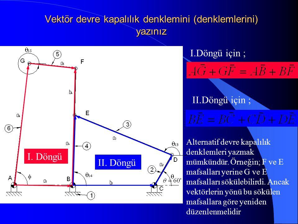 Vektör devre kapalılık denklemini (denklemlerini) yazınız