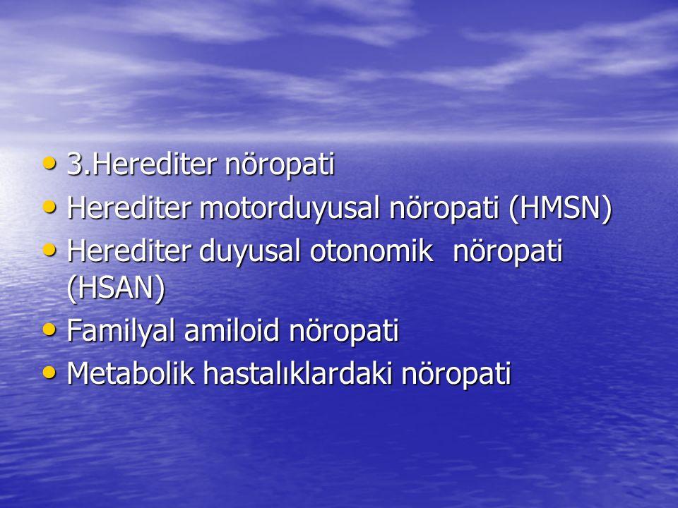 3.Herediter nöropati Herediter motorduyusal nöropati (HMSN) Herediter duyusal otonomik nöropati (HSAN)
