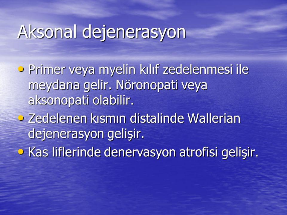 Aksonal dejenerasyon Primer veya myelin kılıf zedelenmesi ile meydana gelir. Nöronopati veya aksonopati olabilir.