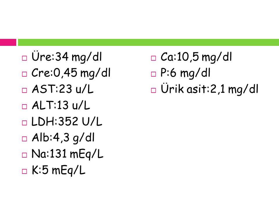 Üre:34 mg/dl Cre:0,45 mg/dl. AST:23 u/L. ALT:13 u/L. LDH:352 U/L. Alb:4,3 g/dl. Na:131 mEq/L. K:5 mEq/L.