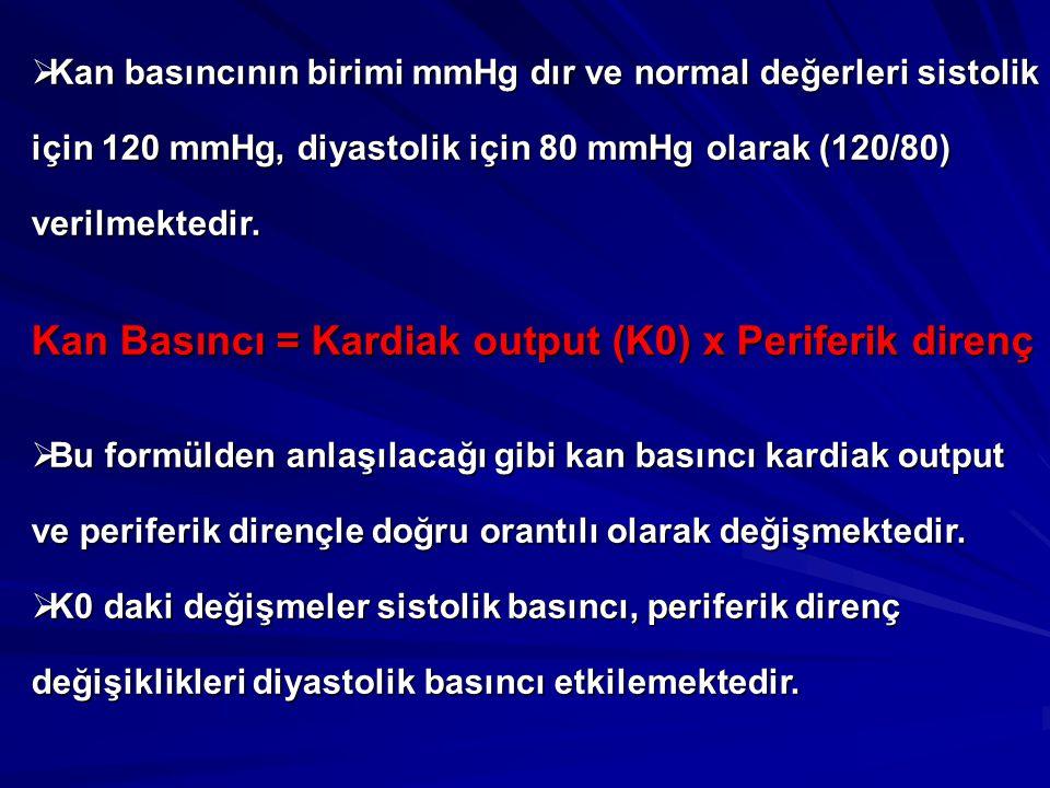 Kan Basıncı = Kardiak output (K0) x Periferik direnç