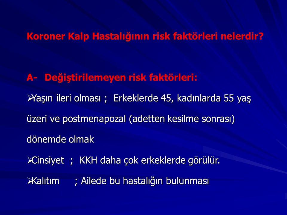 Koroner Kalp Hastalığının risk faktörleri nelerdir