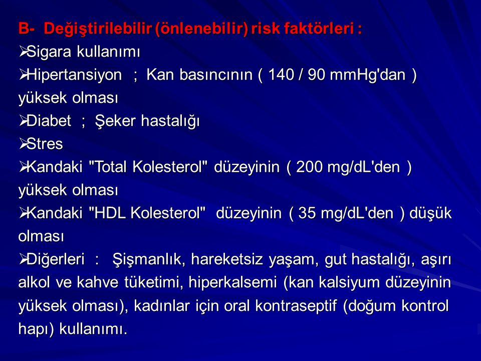 B- Değiştirilebilir (önlenebilir) risk faktörleri :